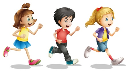 children group: Illustration of kids running on a white background