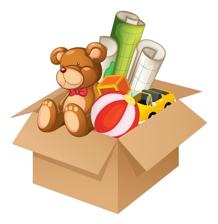 packing boxes: Illustration of toys in a box on a white background Illustration