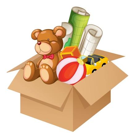 Ilustración de los juguetes en una caja sobre un fondo blanco