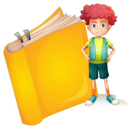 closed mouth: Illustration of a young curly boy and a big book on a white background