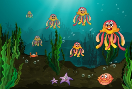 Illustration of the different underwater creatures Stock Vector - 17524738