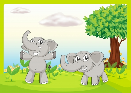 two animals: Illustration of two gray elephants Illustration