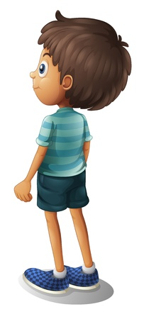 turns: Illustration of a back of a young boy on a white background Illustration