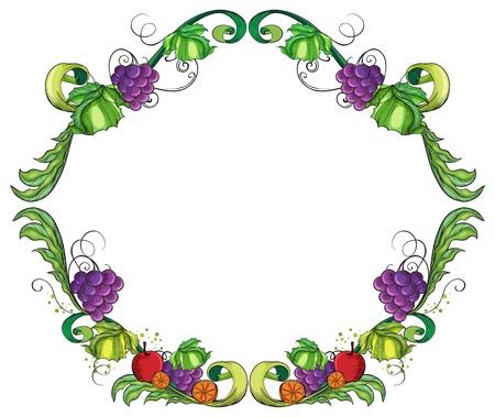 fruity: Illustration of a round fruity border on a white background Illustration