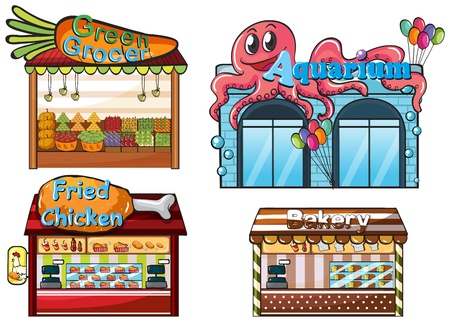pet store: Illustration of a fruitstand, an aquarium, a food stall and a bakery on a white background