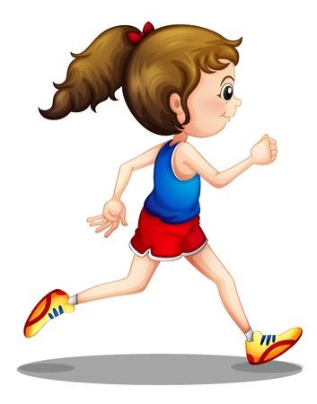 niño corriendo: Ilustración de una chica joven que se ejecuta en un fondo blanco