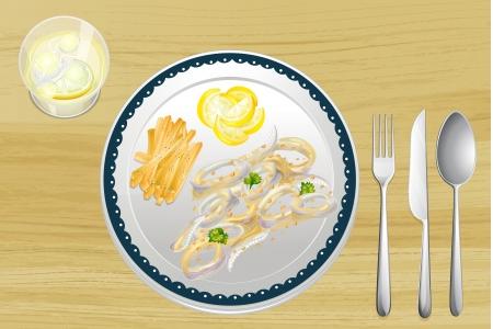 Illustration of a set of dining utensils Vector