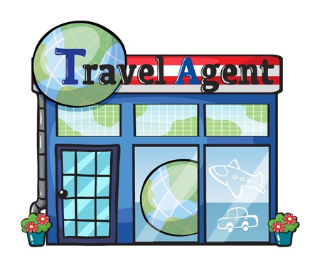 agents: Illustration of a travel agent office on a white background