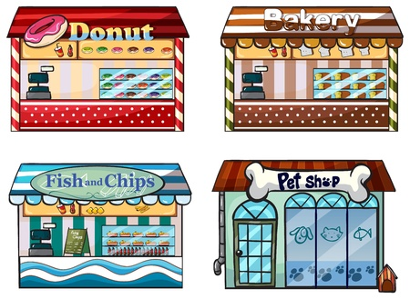 establishments: Illustration of a donut store, bakery, fish and chips store and a pet shop on a white background