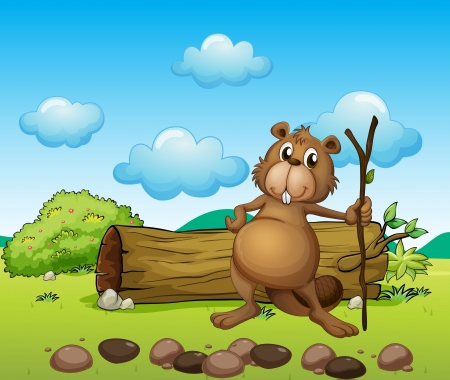 Illustration of a beaver with a log Stock Vector - 17521679