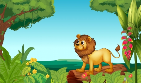 nose cartoon: Illustration of a scary lion in the jungle