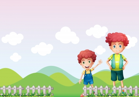 farm boys: Illustration of two boys in the farm Illustration