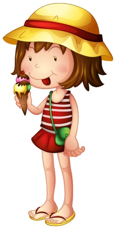 Illustration of a child eating an ice cream on a white background Vector