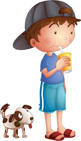 Illustration of a young boy drinking beside a cute puppy on a white background