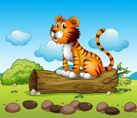 Illustration of a tiger relaxing above a trunk Stock Vector - 17521611