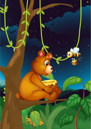 Illustration of a bear and a bee in the forest Stock Vector - 17521453