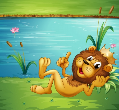 riverbank: Illustration of a lion with a crown in the riverbank Illustration