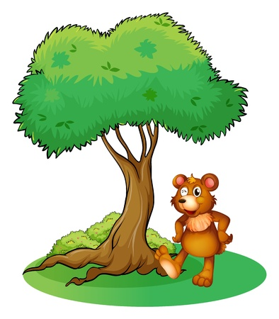 bush babies: Illustration of an animal under a tree on a white background