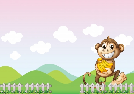 Illustration of a monkey in the farm Vector