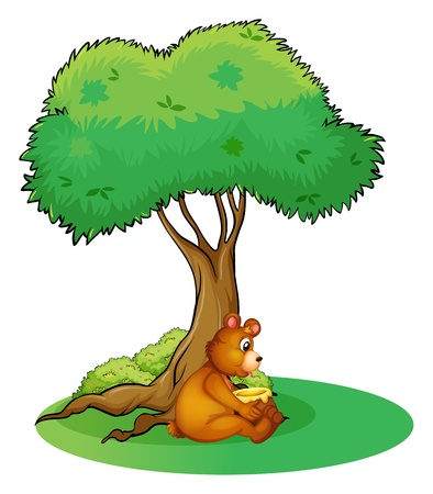 Illustration of an animal taking a rest under a tree on a white background Stock Vector - 17521600