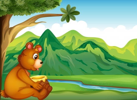 Illustration of an animal watching the river Vector
