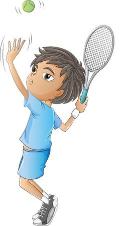 jugando tenis: Ilustración de un muchacho joven que juega a tenis en un fondo blanco Vectores