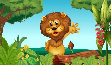 jungla caricatura: Ilustraci�n de un le�n feliz en el bosque Vectores