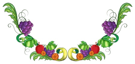designed: Illustration of a border with different fruits on a white back ground  Illustration