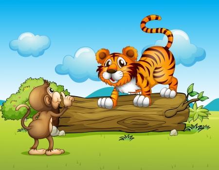 Ilustración de un mono y un tigre