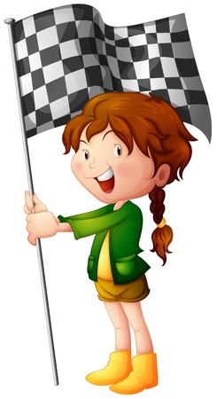 finish flags: Illustration of a smiling kid holding a flag on a white background