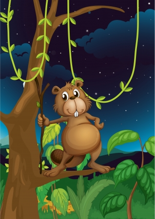 Illustration of a beaver in the jungle Stock Vector - 17521681