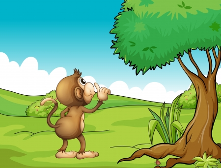 Illustration of a monkey looking at the tree Stock Vector - 17521607