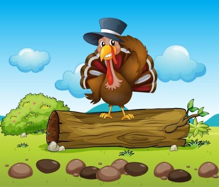 wattle: Illustration of a turkey above a log