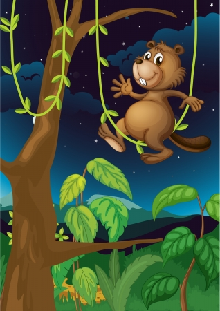 Illustration of a beaver in the dark forest Stock Vector - 17521631