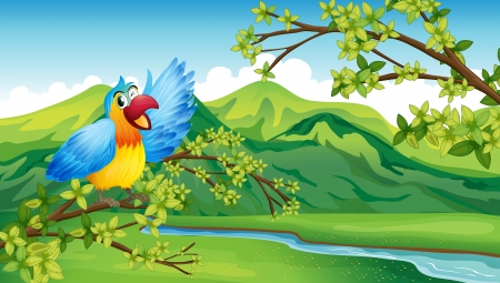yellow landscape: Illustration of a bird on a branch of a tree Illustration