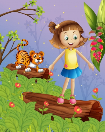 Illustration of a girl and a tiger in the forest Stock Vector - 17524676