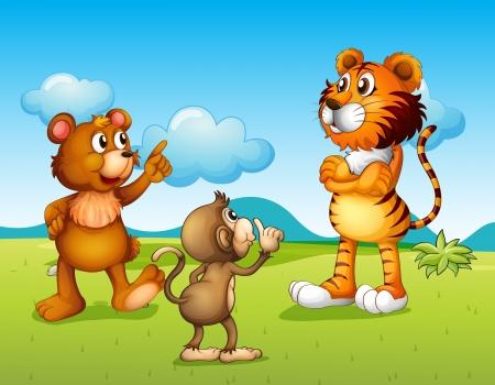 tigre bebe: Ilustración de un tigre, un mono y una rata