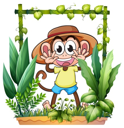 Illustration of a young and playful monkey on a white background Vector