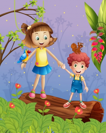 Illustration of a girl and a boy in the forest Stock Vector - 17524677