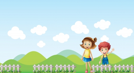 Illustration of a girl and a boy in a mountain scenery Vector