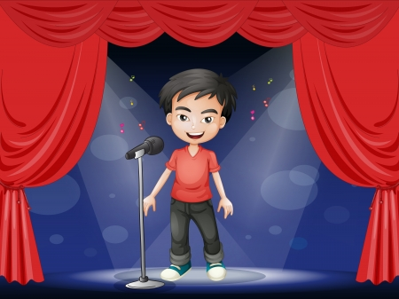 perform: Illustration of a young man performing at the stage  Illustration