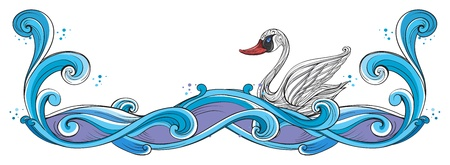 �back ground�: Illustration of a swan border design on a white back ground Illustration