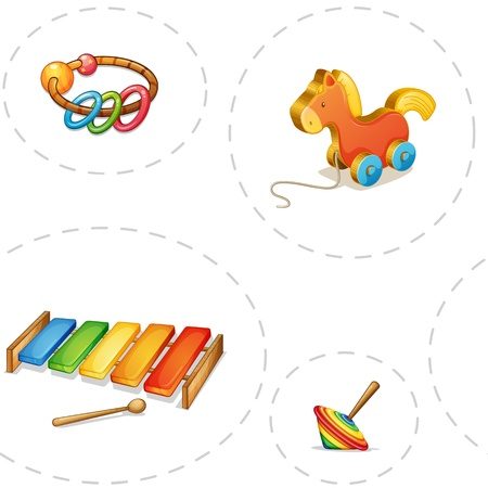 xylophone: illustration of toys on a white backgound