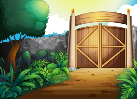 tribes: illustration of a gate in a beautiful nature Illustration
