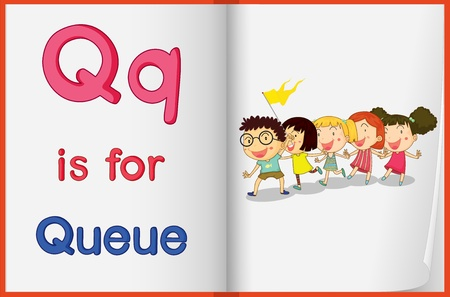 queue of people: Alphabet worksheet for the letter Q