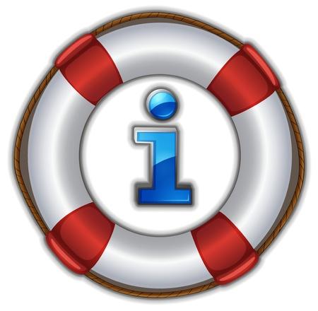 schwimmring: Illustration eines Lebensretter schwimmend auf einem weißen Hintergrund Illustration