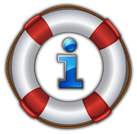 life ring: illustration of a lifesaver floating on a white background