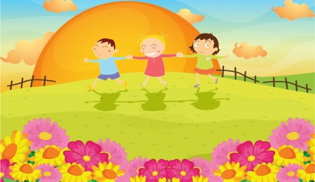 illustration of kids and landscape in a beautiful nature Stock Vector - 17662815