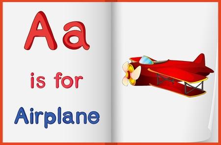 avion caricatura: Alphabet hoja de trabajo para la letra A Vectores