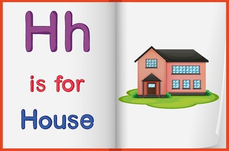 english language: Alphabet worksheet for the letter H Illustration